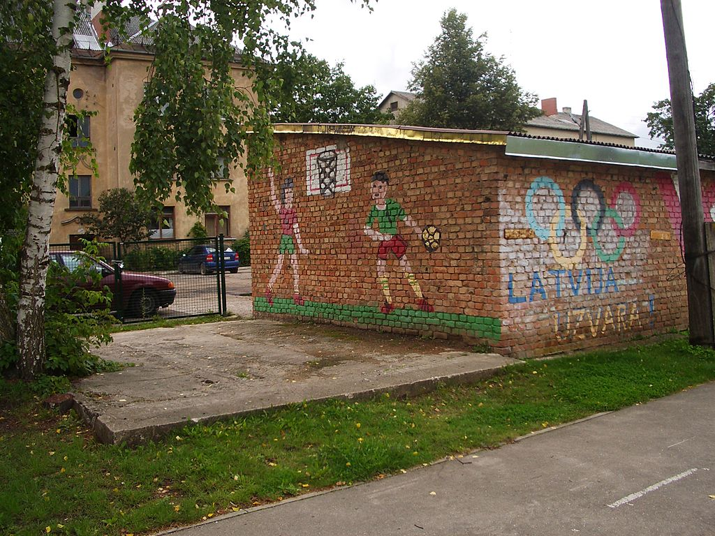 Childrens paintings on wall near Bauska 2nd secondary school. Latvia - Victory August 2011 - panoramio
