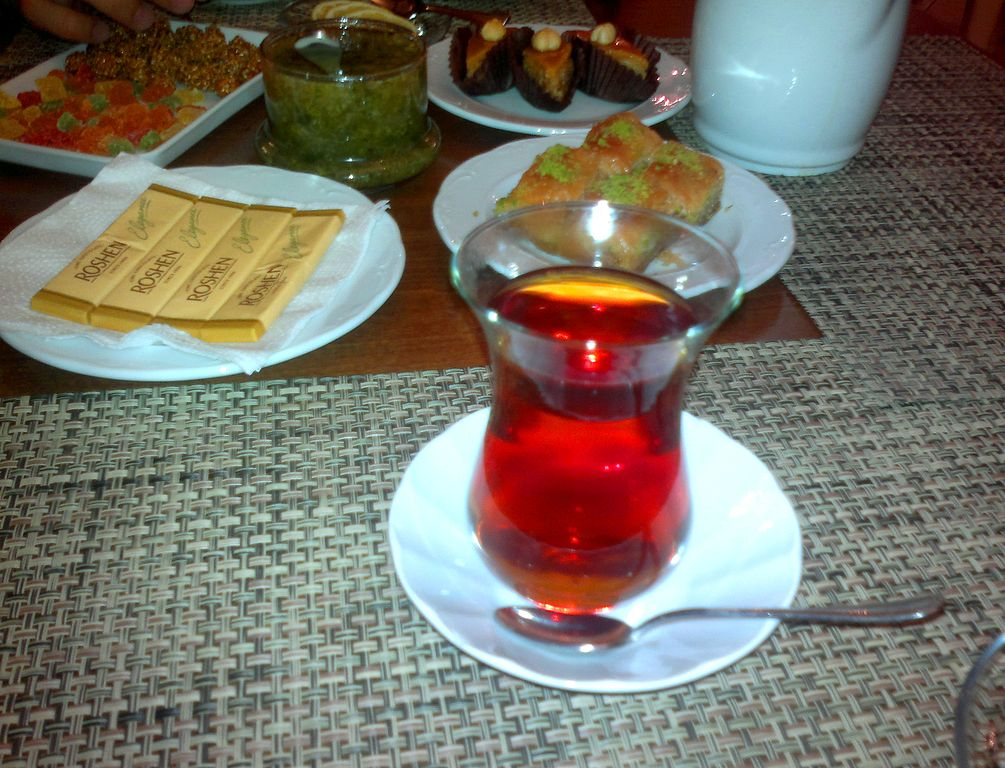 Tea in Azerbaijani national Armudu glass